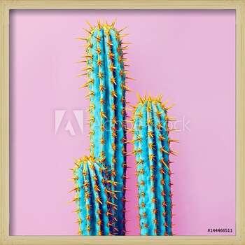 Set Neon Cactus. Minimal creative stillife  Ingelijste poster