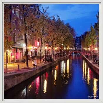 Red Light District in Amsterdam  Ingelijste poster