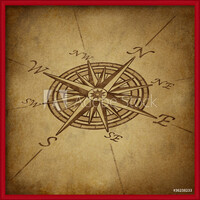 Compass rose in perspective with grunge texture  Ingelijste poster