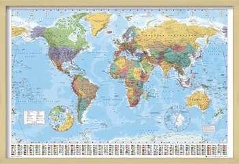 Ingelijste poster World Map - Political