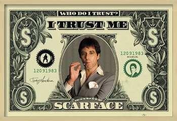 Ingelijste poster SCARFACE - dollar