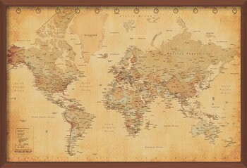 Ingelijste poster World Map - Antique Style