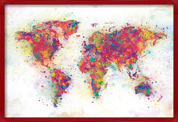 Ingelijste poster World Map - Colour Splash