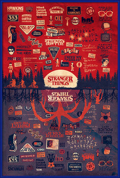 Ingelijste poster Stranger Things - The Upside Down