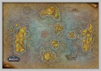 Ingelijste poster World Of Warcraft - Map