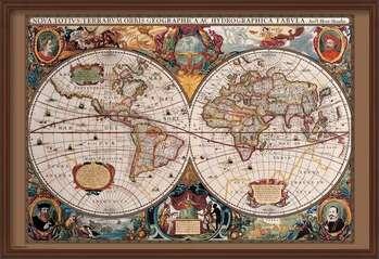 Ingelijste poster World Map - 17th Century