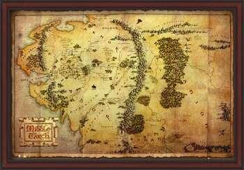 Ingelijste poster The Hobbit - Middle Earth Map