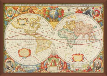 Antique Map Of The World Kunstdruk